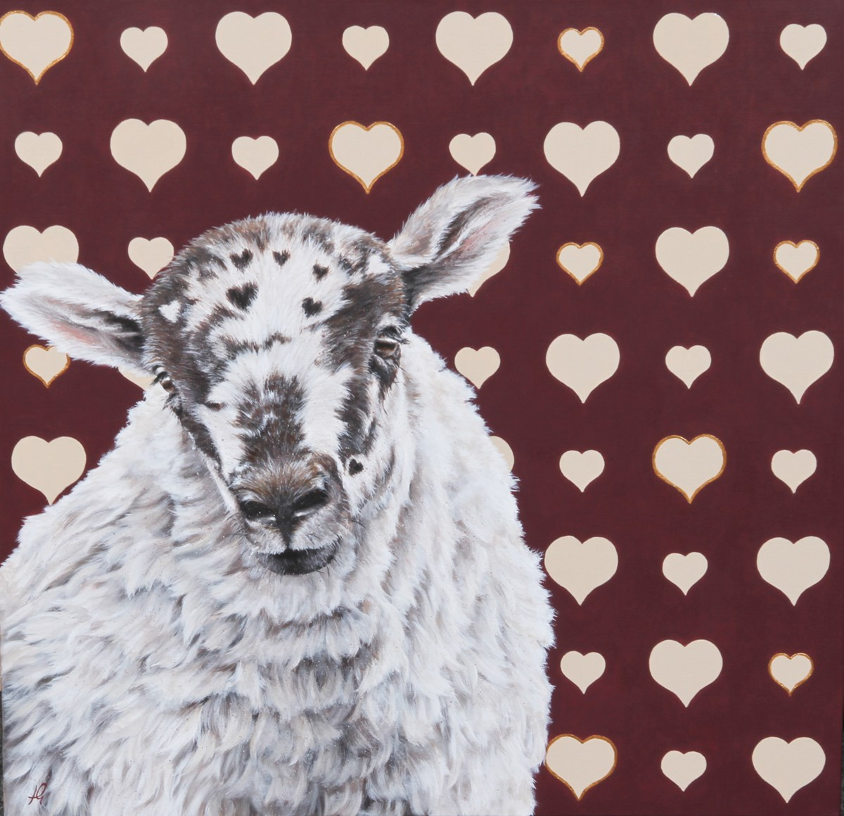 Love Ewe by hayley goodhead - Original on Box Canvas sized 30x30 inches. Available from Whitewall Galleries